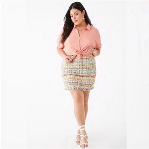 Plus size colorful tweed pencil skirt
